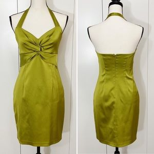 David Meister Olive Green Cocktail Party Dress